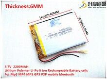 Bateria de Lítio Polímero com Protection Board para MP5 Tamanho 605060 3.7 V 2200 MAH GPS Produtos Digitais Tablet PC Livre Grátis