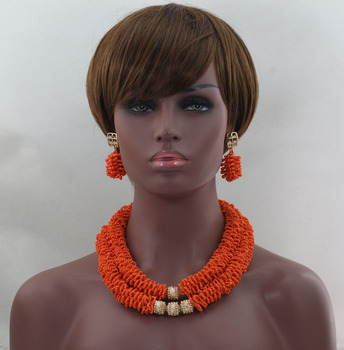 Fashion African Wedding Beads Jewelry Set Orange Seed Beads Nigerian Beads Necklaces Bracelet Earrings Free Shipping WD210