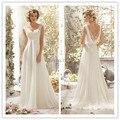 Custom Made estilo country sheer manga comprida vestidos de casamento com lace v pescoço chiffon uma linha vestido de noche tallas grandes con tiran