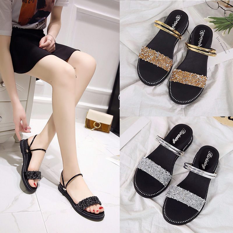 2019 summer new rhinestone muffin with sandals Korean version of two wear fashion wild wedge sandals(China)