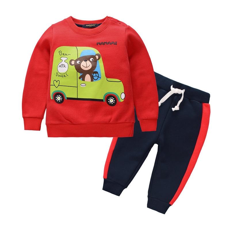 Dollplus 2018 Kids Clothes Sports Suit for Boys Autumn Children Clothes Causal Cartoon Sets 2 Pieces Sweatshirts Pants Kids Set