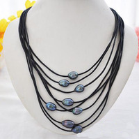 Black Leather Pearl Jewellery,8Rows 10 15mm Black Rice Freshwater Pearl Necklace,Magnet Clasp