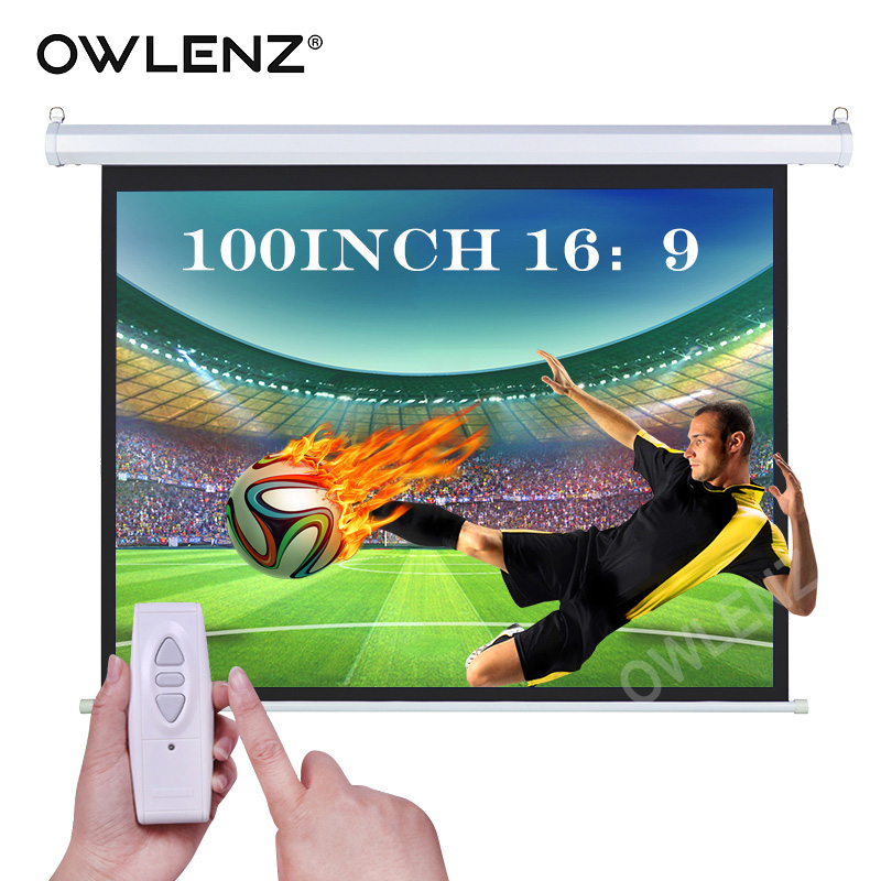 Owlenz 100 inch 16 9 4k hd home theater electric for Motorized drop down projector screen