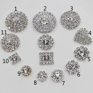 Shiny 10 Pieces Mixed Size Silver Rhinestones Buttons Wedding Crafts Decorative Accessories For DIY Clothing