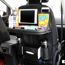 Artificial PU Leather Car Back Seat Organizer Foldable Car Organizer Storage Bag Table Auto Accessories Trunk Stowing Tidy
