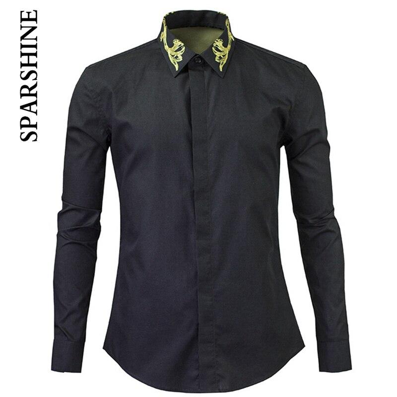 New Men Black Shirt 2016 Fashion embroidery Design Mens Dress Shirts Casual Cotton Shirt Chemise Homme Size