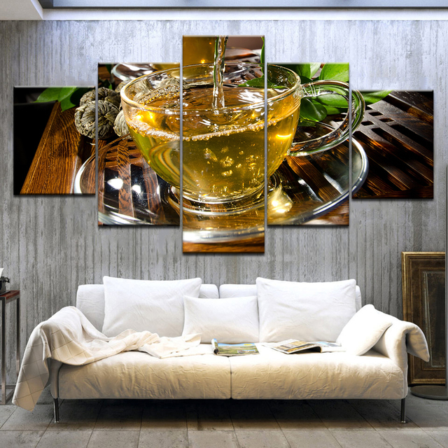 Us 5 88 40 Off 5 Panel Canvas Art Kitchen Decor Canvas Painting Large Wall Tea Poster For Living Room Wall Pictures Print On Canvas No Frame In