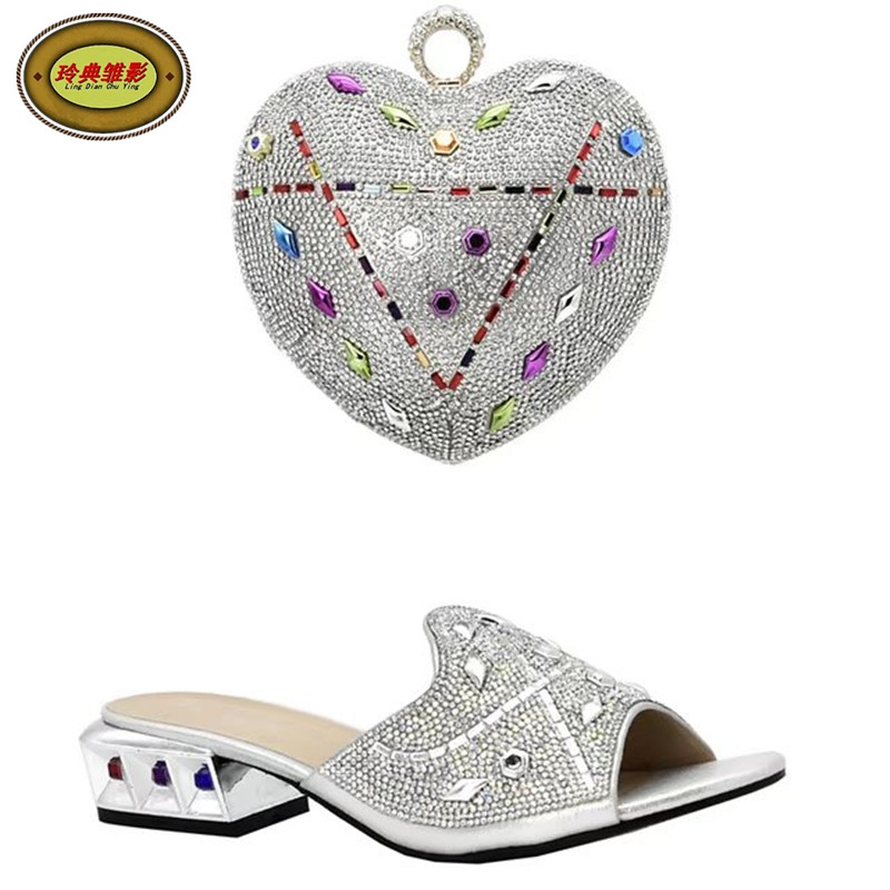DS010 Newest Silver African Matching Shoes And Bag Set Beautiful Design European Ladies Slipper And Bags Sets Free Shipping yh01 hot sale african matching shoes and bag with stone fashion dress shoes and bags free shipping