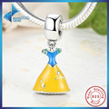 Hot Sell 100% 925 Sterling Silver Snow White's Dress DANGLE Pendant Fit Bracelet Necklace Blue Bodice Yellow Skirt Jewelry