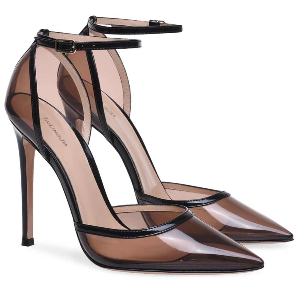 6e189fd33b2 Pointed Toe High Heel Pumps Women Black Transparent Sexy Heeled Evening  Dress Shoes Ladies Summer Clear Heels Large Size 2018