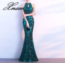 New 2019 sexy Sleeveless fashion Sequin long party shiny Backless