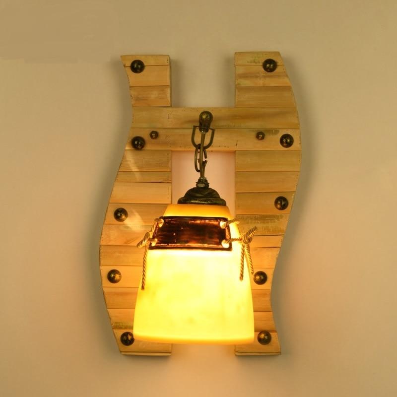 Твердые деревянные отеля современный минималистский гостиной настенные Bamboo Проход Спальня Декоративные лампы ночники японский ZH zb38