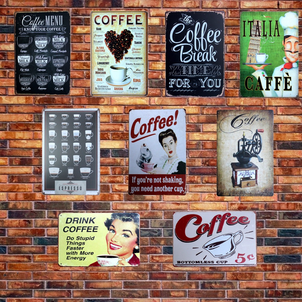 [Mike86] CAFE MENU VET DIN KAFFE TIN SIGN Gamla väggmetallmålning ART Decor AA-230 Mix order 20 * 30 CM