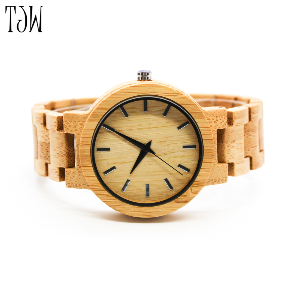 TJW2017 Limited Trendy Nature Wood Sport Bamboo Wrist Watch Women New Arrival Wooden Men And In Lovers Pair fashion analog full wooden bamboo women creative watches novel nature wood men bangle quartz wrist watch 2017 new arrival