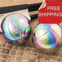 Free shipping.Solid 75mm baoding iron ball chrome and golden,super palm exercise stress relief balls.Health supplements.No box.