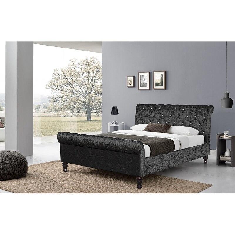 Crushed Velvet Bed Fabric Upholstered Chesterfield Sleigh