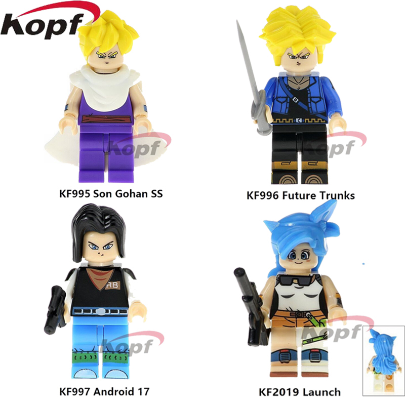 Single Sale Super Heroes Dragon Ball Z Figures Building Blocks Son Gohan SS Future Trunks Android 17 Launch Toys for children