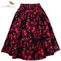 Estilo retro 50 s vintage saia de cintura alta pin up floral impressão Rockabilly Balanço Saias para As Mulheres Azul Vermelho Plus Size XXL VD0177