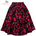 Retro Style 50s Vintage Skirt High Waist Pin up Floral Print Rockabilly Swing Skirts for Women Blue Red Plus Size XXL VD0177