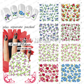 HOTSALE 20sheet /lot  Flower Water decals full Nail Art Stickers Nail Accessories for stickers for nails  individually packaging