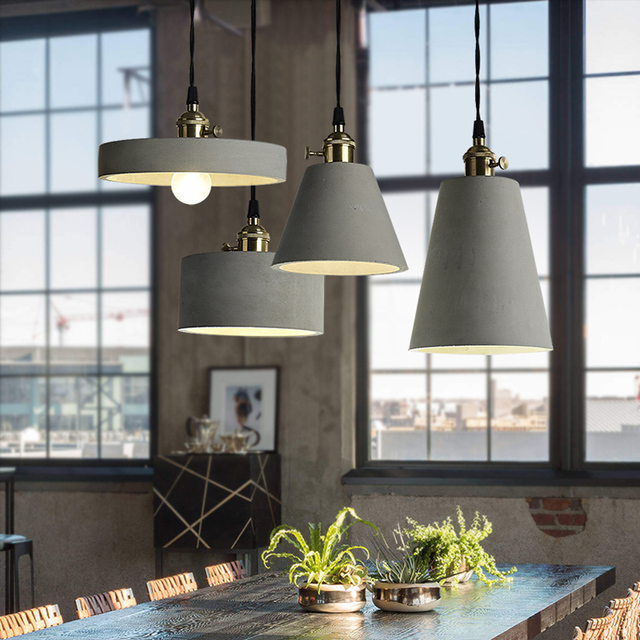 Nordic Gray Cement pendant lighting 4 kinds cement lampshade hanging ...