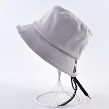 Solid Corduroy Bucket Anti-UV Floppy Summer Beach Hats For Women