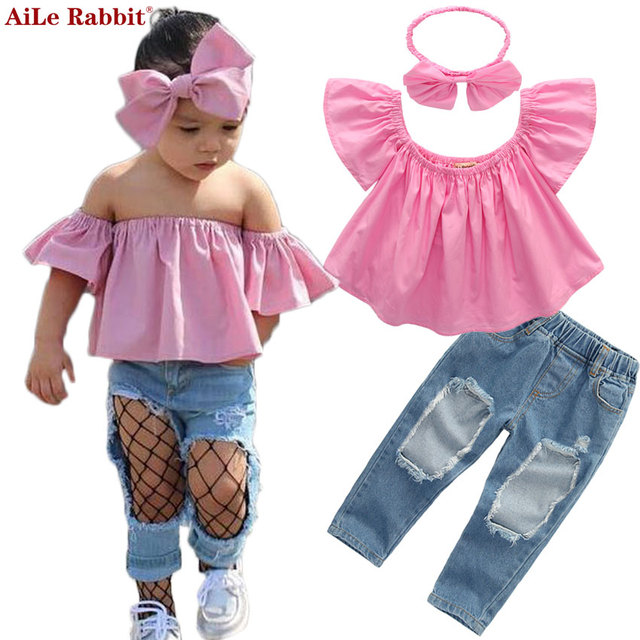 25299be7419a AiLe Rabbit Fashion Girls Suit Tops Jeans Headband 3 Pieces The Word Collar Strapless  Set Kids Pink Bowknot Hole Denim k1
