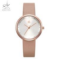 SK Vrouwen Horloges Mixmatch Eenvoudige Horloge SHENGKE Beige Lederen Band Reloj Mujer Klassieke Jurk Horloge Vrouw Montre Femme 2019-in Dameshorloges van Horloges op