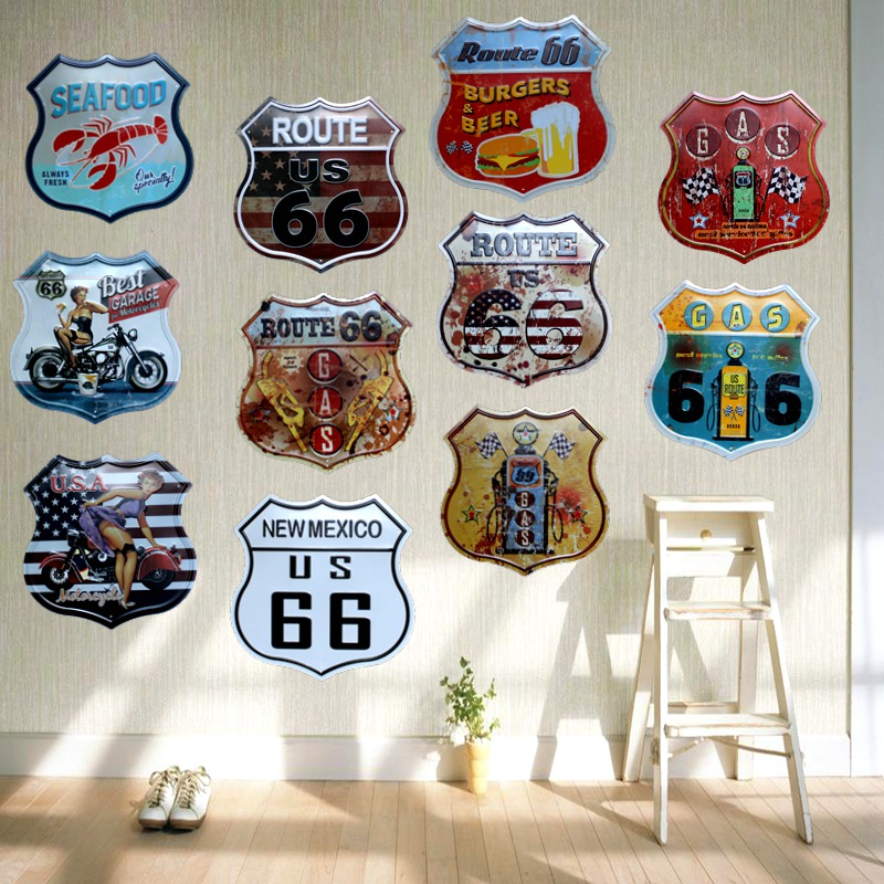 ROUTE 66Restaurant Øl Bar Kaffe Metal Uregelmæssigt Blikskilte Reklamebord Vægpub Home Art Decor 30CM U-16