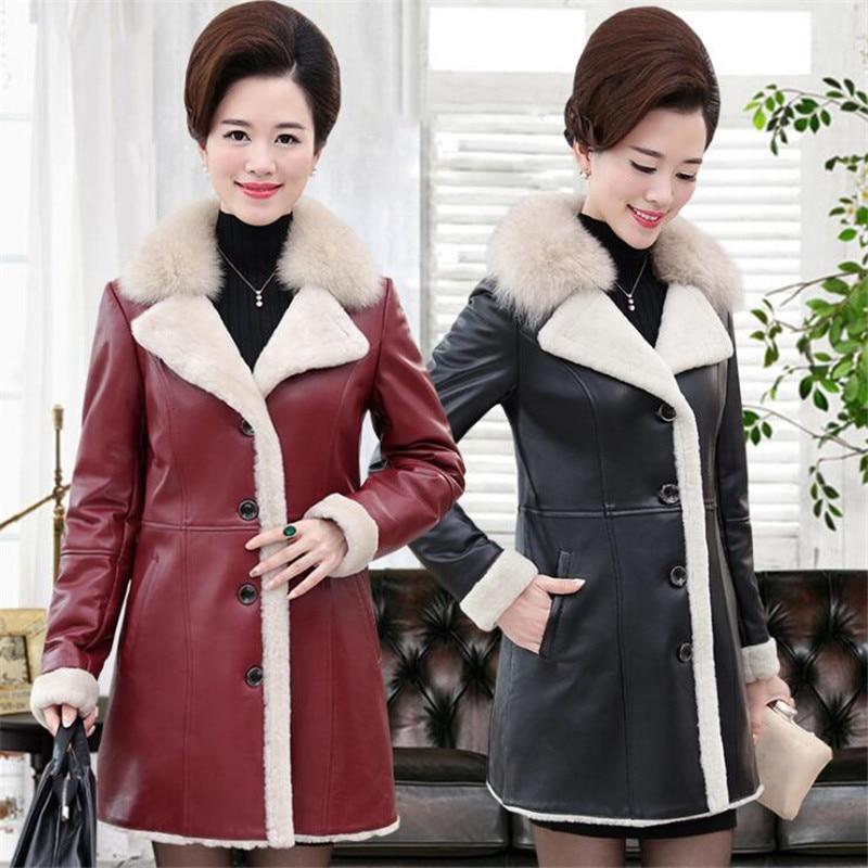 MSAISS Winter Women Imitation Sheepskin Fur Coat High Quality Fur Collar Warm Ladies'   Leather   Jacket