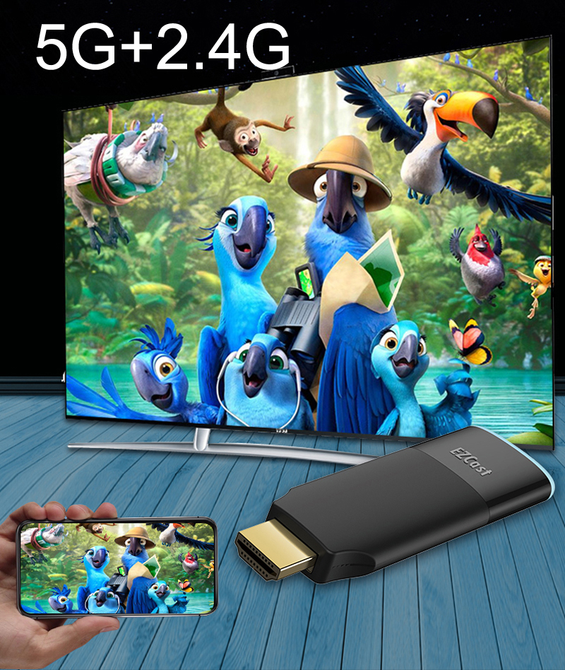 Wireless HDMI Dongle Miracast 2.4G 5G WiFi Media Display HD Video Adapter TV Stick Airplay DLNA for iPhone iOS Android Windows