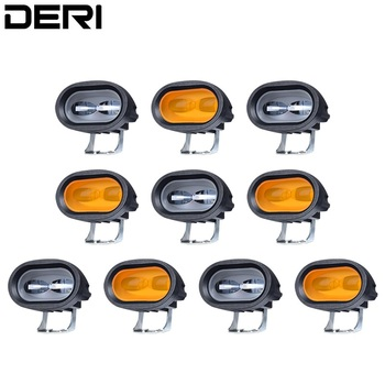 10pcs 6D 20W LED Work Light White Amber 6000K Universal Motorcycle Off Road Auxiliary Spot Lamp Driving Fog Light for Car Truck