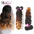 3 Color Ombre Loose Curl Weave Raw Indian Virgin Hair 4 Bundles 7A Indian Loose Wave Ms Mary Hair Ombre Hair Loose Curls Weave