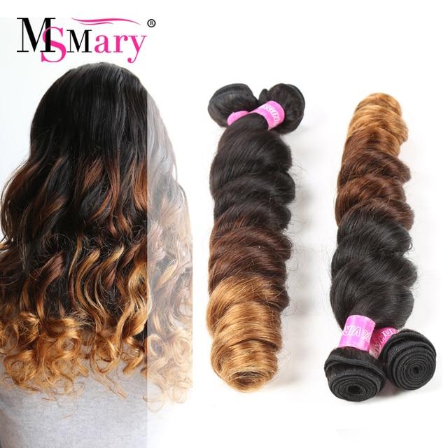 3 Color Ombre Loose Curl Weave Raw Indian Virgin Hair 4 Bundles 7a