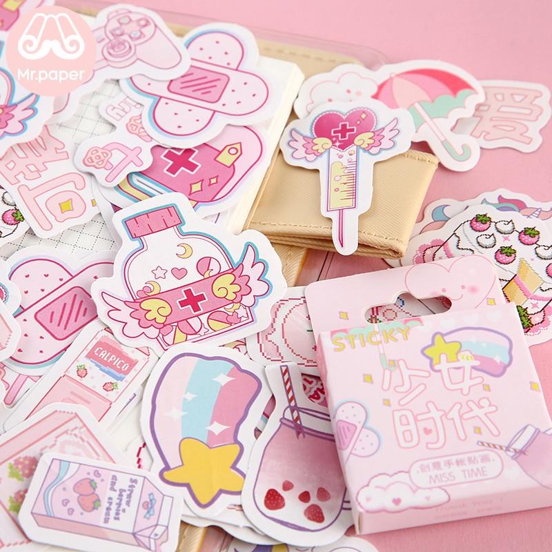 Mr.paper 46Pcs/box Cute Diary Stickers Scrapbooking Girl Generation Series Planner Japanese Kawaii Decorative Stationery Sticker