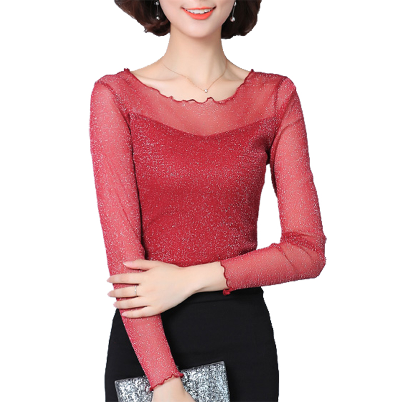 0062b09f6d0 2017 New Plus Size 3XL Spring Women Blusas Long Sleeve Tops Sexy Lace  Patchwork Mesh Slim Blouses Basic Shirts Blusas Mujer