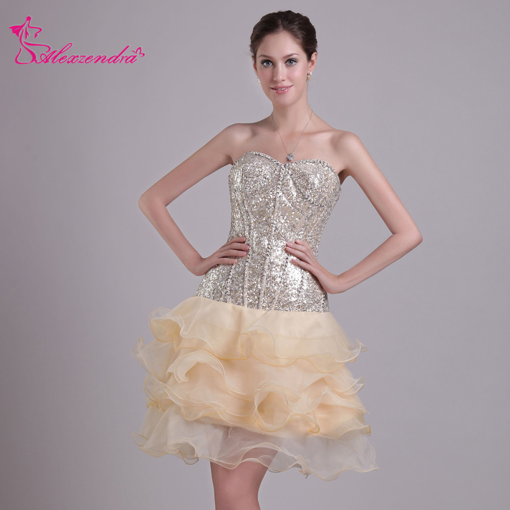 Alexzendra Champagne Sweetheart Beads Ruffles Simple Mini A Line   Prom     Dresses   Simple Special Party Gowns
