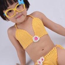 Бикини ручной работы, вязанный крючком, детский хлопковый купальный костюм, купальный костюм для девочек, пляжная одежда для малышей, бикини на бретельках, купальные костюмы, размеры s, m, l
