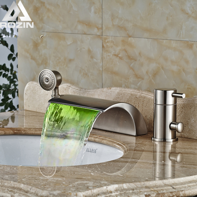 Charming Luxury Color Changing Waterfall Bathtub Mixers Taps Waterfall Bath Spout  Tub Faucet RGB Light Brushed Nickel