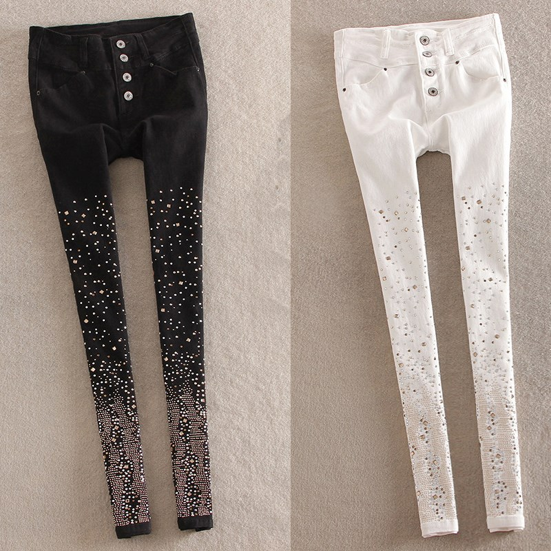 Autumn Women Rhinestone Jeans High Waist Single Breasted Denim Pants Plus Size Denim Pencil Pants