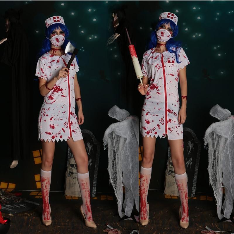 2019 New Spoof Bloody Nurse Halloween Costume Cosplay Party Stage Devil Dress Suits Fancy Dresses Clothing