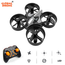 Global Drone Mini Drone 6 Axis Gyro 2,4G 4CH Micro Drones RC helicóptero sin cabeza modo bolsillo Quadcopter Dron(China)