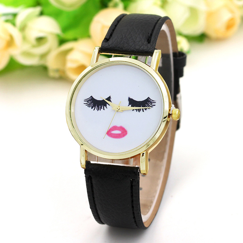 Fashion Women Eyelashes Dial Watch Clock PU Leather Strap Wristwatch Analog Quartz Watches LL@17 cheap fashion glitter dial clock watch women casual pu leather analog quartz watch roman numerals dress watches wristwatch