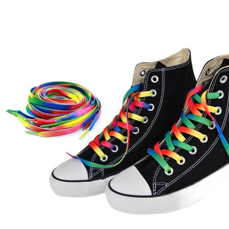 1Pair Rainbow Flat Canvas Athletic Shoelace Sport Sneaker Shoe Laces Strings