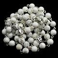 Blanco natural beads piedra católica rosario embalado en caja 12 estrellas madonna pieza central del rosario