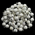 White natural stone beads catholic rosary packed in box 12 stars madonna rosary centerpiece