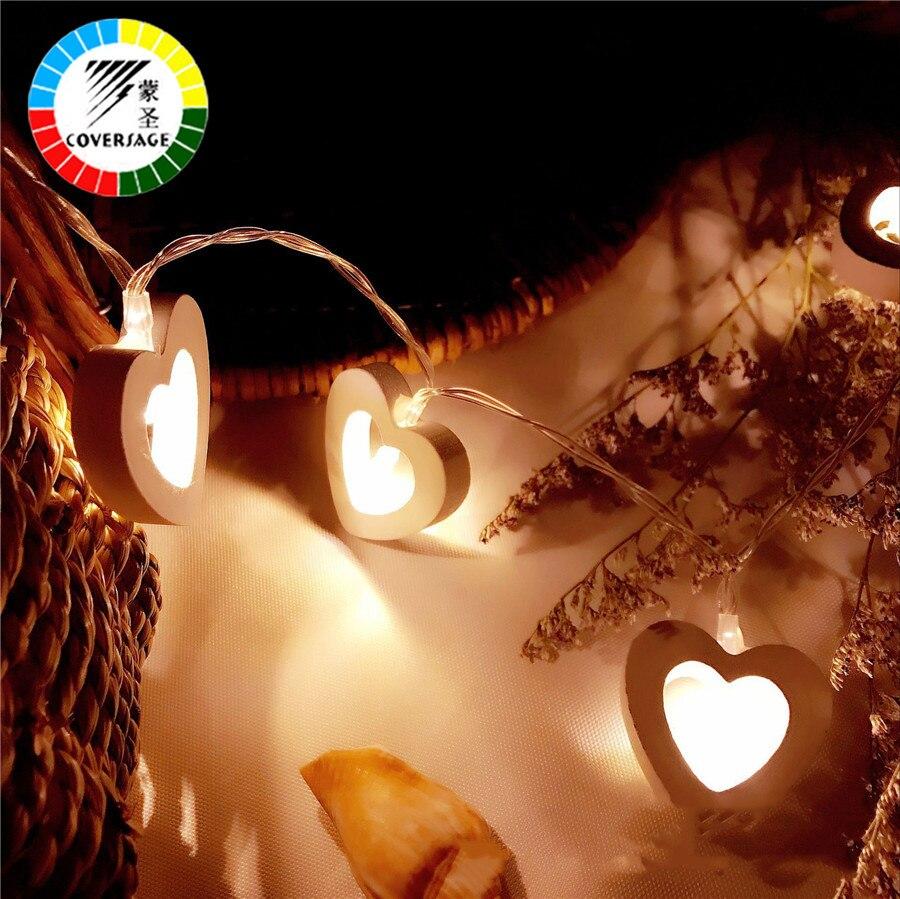 Coversage 10 madera corazón llevó la batería Navidad árbol guirnalda cadena decoración de Navidad al aire libre cortina de hadas luces de Navidad