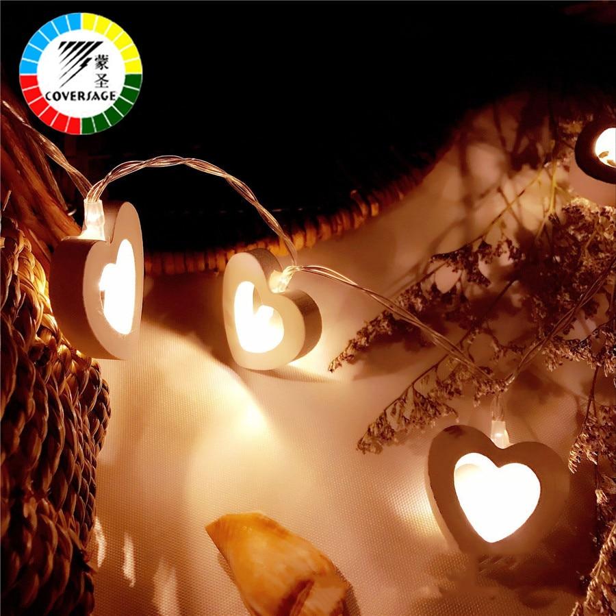 Coversage 10 Деревянный Сердце <font><b>LED</b></font> Батарея Рождество дерева Гирлянда Строка Xmas Украшение Крытый Шторы Фея Праздничные огни