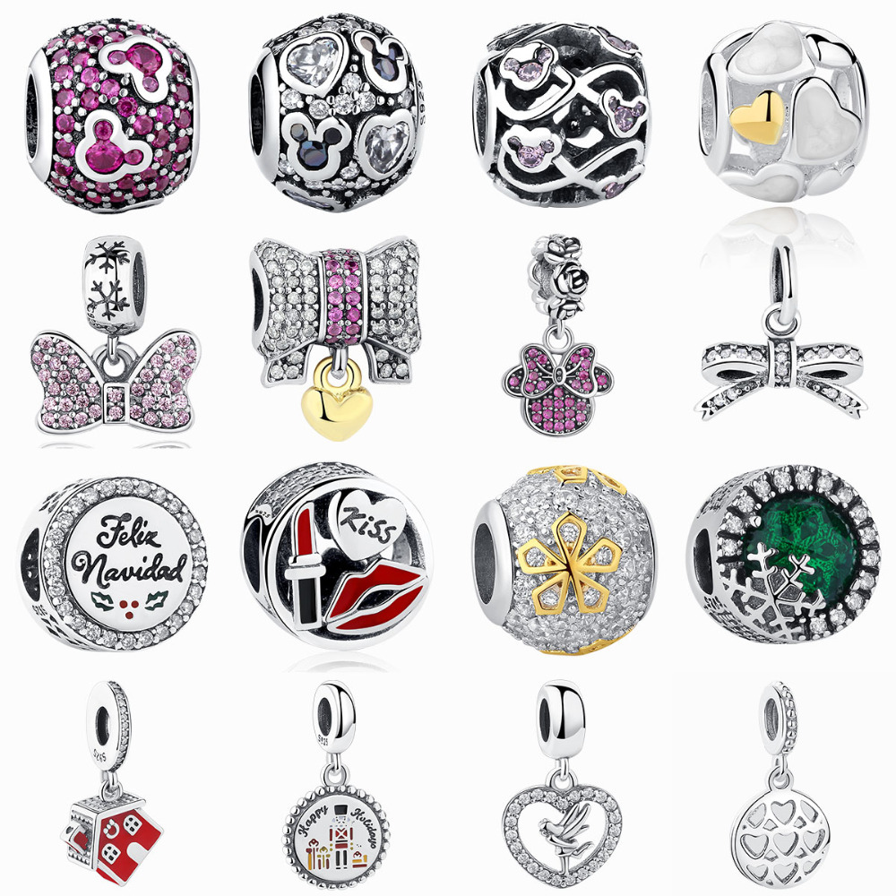 Granos europeos Fit Pandora Charms Plata 925 Original Mickey Minnie Bow Corazón Cubic Zircon Crystal Beads DIY Jewelry Making