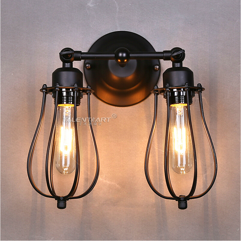 American Style Vintage Wall Sconce Lamp Industrial Edison Beside Mounted Cage Art Deco Loft Lighting Fixture